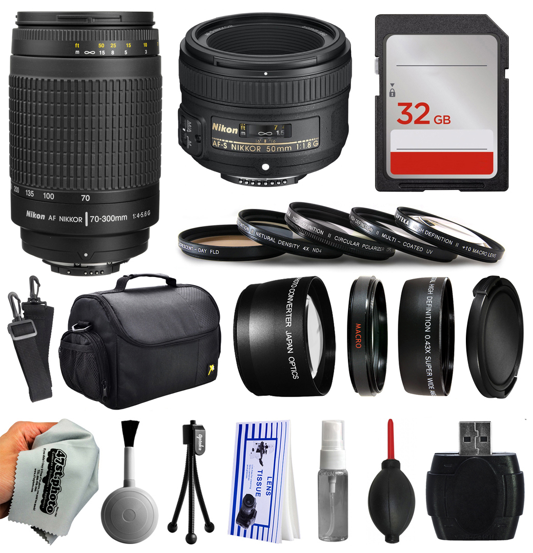 Beginner Accessories Kit for Nikon DF D7200 D7100 D7000 D5500 D5300 D5200 D5100 D5000 D3300 D3200 D3100 D300S D90 includes Nikon 70-300mm Manual Lens + 50mm f/1.8G Lens + 32GB Memory + Filters + Case