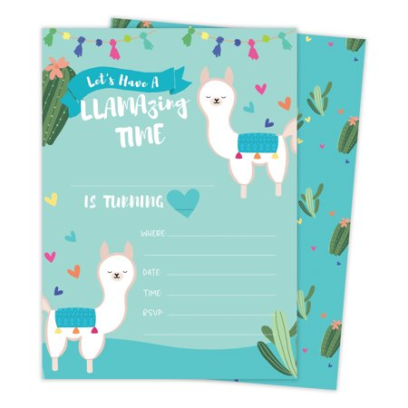 Llama 3 (1) Happy Birthday Invitations Invite Cards (25 Count) With Envelopes & Seal Stickers Vinyl Girls Boys Kids Party