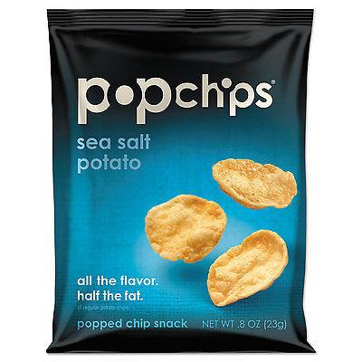 Popchips Potato Chips Sea Salt Flavor .8 oz Bag 24/Carton...