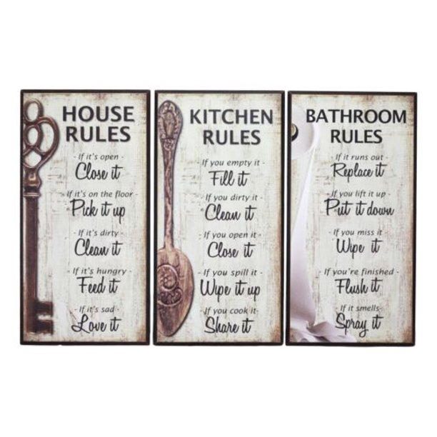 Ebros 7 Inch By 14 Inch Rustic Country Wood Our Family Rules Wall Art Wooden Sign Decor For Kitchen House And Bathroom Walls Vintage Hanging Plaque Reminder Signs Set Of 3 Walmart Com Walmart Com