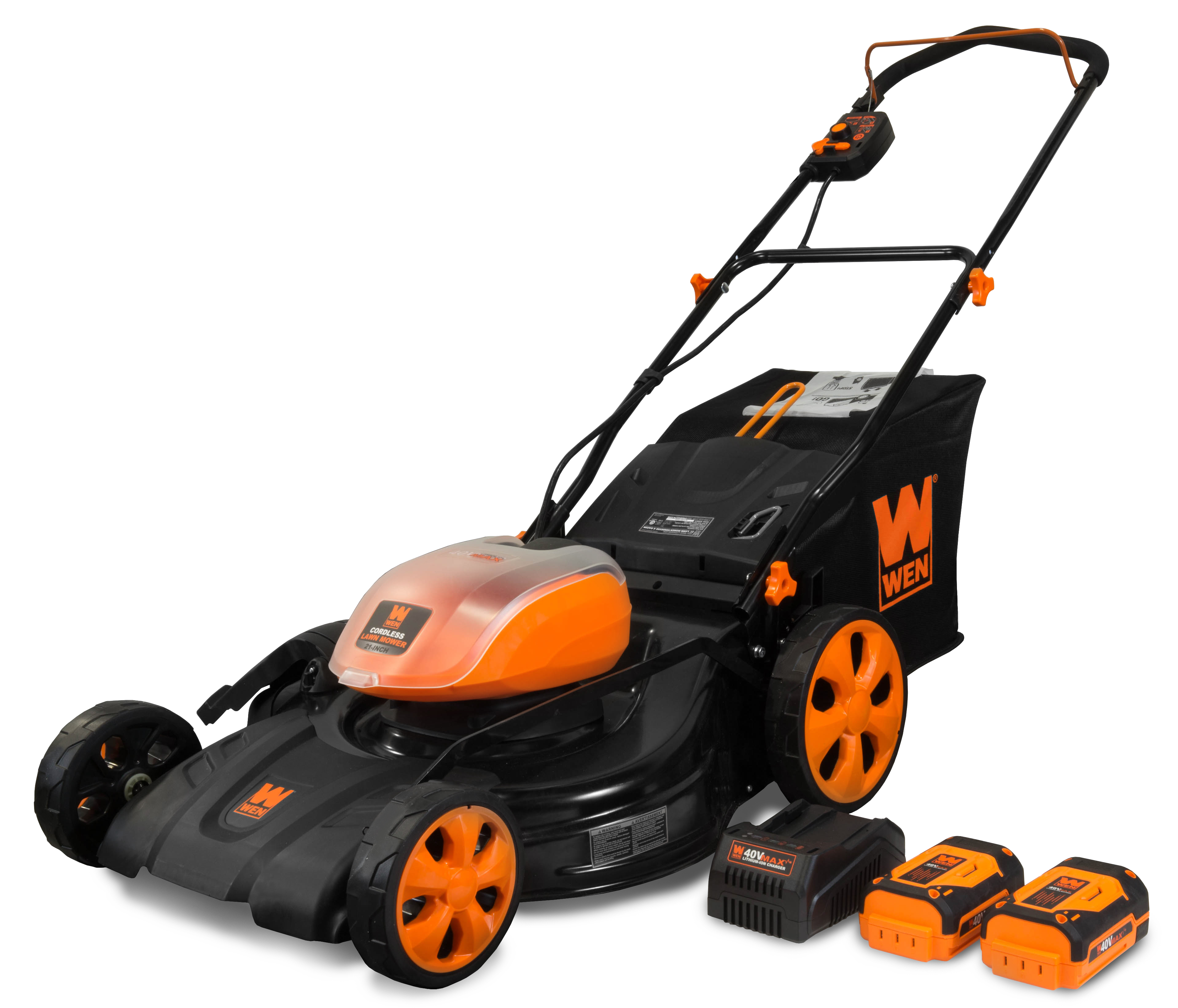 WEN 40V Max Lithium Ion 21-Inch Cordless 3-in-1 Lawn Mower with Two Batteries, 16-Gallon Bag and Charger by WEN