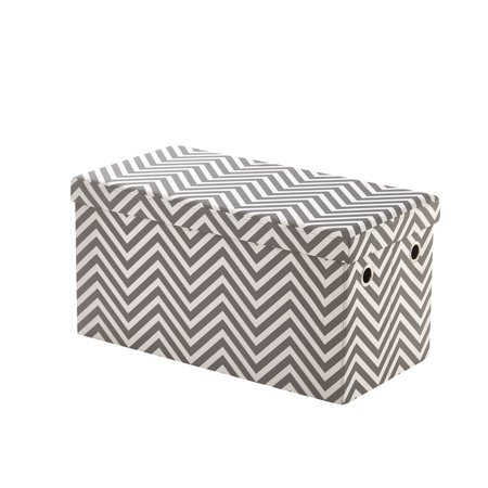 Urban Shop Collapsible Folding Large Soft Storage Bench, Chevron