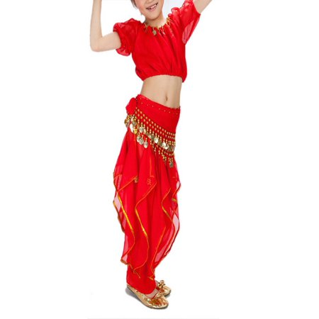 BellyLady Kid Belly Dance Halloween Costume, Harem Pants & Short Sleeve Top Set-Red-M (Dance Party Halloween)