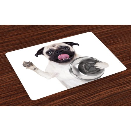 Pug Placemats Set of 4 Cute Pug Holding Food Bowl and Licking Its Lips Hunger Image Raising Its Hand, Washable Fabric Place Mats for Dining Room Kitchen Table Decor,Cream Silver Black, by (Best Place To Get Lip Fillers)