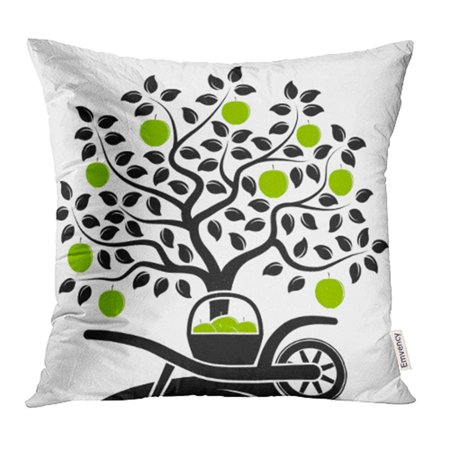 Black Halloween Apples (ARHOME Green Fall Apple Tree and Hand Barrow with Basket of Apples White Harvest Black Pillow Case Pillow Cover 16x16 inch Throw Pillow)