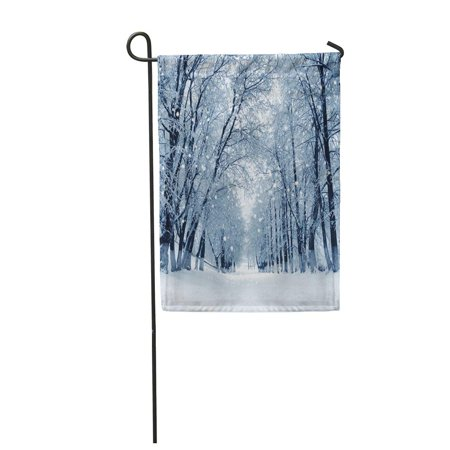 KDAGR Blue Snow Snowstorm in Park Winter Landscape Scene Garden Flag Decorative Flag House Banner 12x18 inch ()