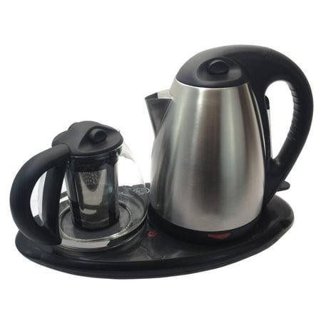 Tea Maker Set - Dual Electric Kettles Stainless Steel & Glass with Keep Tea Warm Tray Tea Maker Set - Dual Electric Kettles Stainless Steel & Glass with Keep Tea Warm Tray