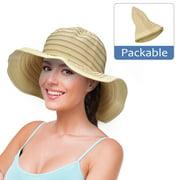 Women Floppy Sun Beach Hats w/ Wide Brim Straw Edge Summer UV Protection Foldable Gardening Hiking Cap