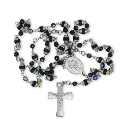 Fancy Rosary Necklace Five Decade Steel and Acrylic Catholic Prayer Beads (Silver/Prism) (5 Mm Rosary Necklace)