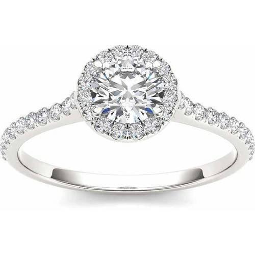 3/4 Carat T.W. Diamond Single Halo 14kt White Gold Engagement Ring