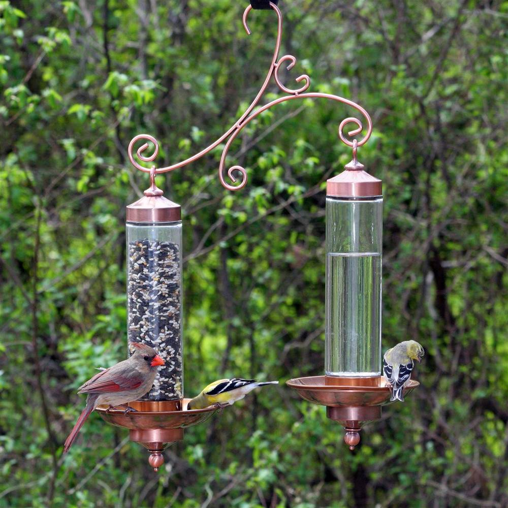 Copper Sip & Seed Bird Feeder w Double Silo in Copper Finish