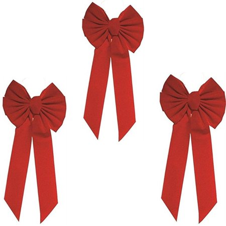 Rocky Mountain Goods Red Bow - Christmas Wreath Bow - Great for Large Gifts - Indoor/Outdoor use - Hand Tied in USA - Waterproof Velvet - Attachment tie Included for Easy Hanging (20-Inch 3 Pack) 20-I Large Christmas Wreath