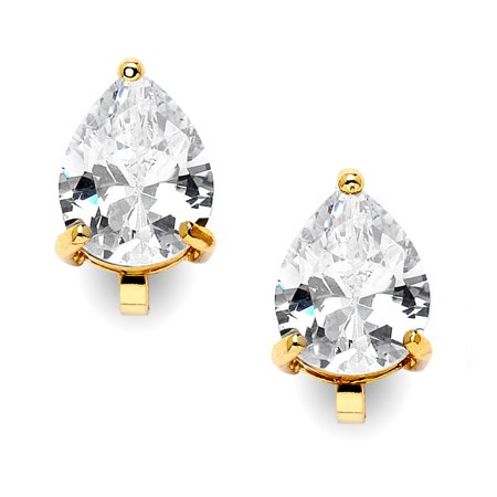 Mariell 2 Carat Clip-On Earrings with Pear-Shaped Cubic Zirconia Stud Solitaire - 14K Yellow Gold Plating 14k Gold Overlay Pear