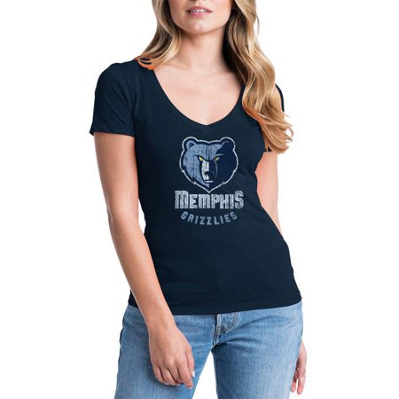 NBA Memphis Grizzlies Women's Short Sleeve V Neck Graphic Tee Blue Adidas Nba Jersey