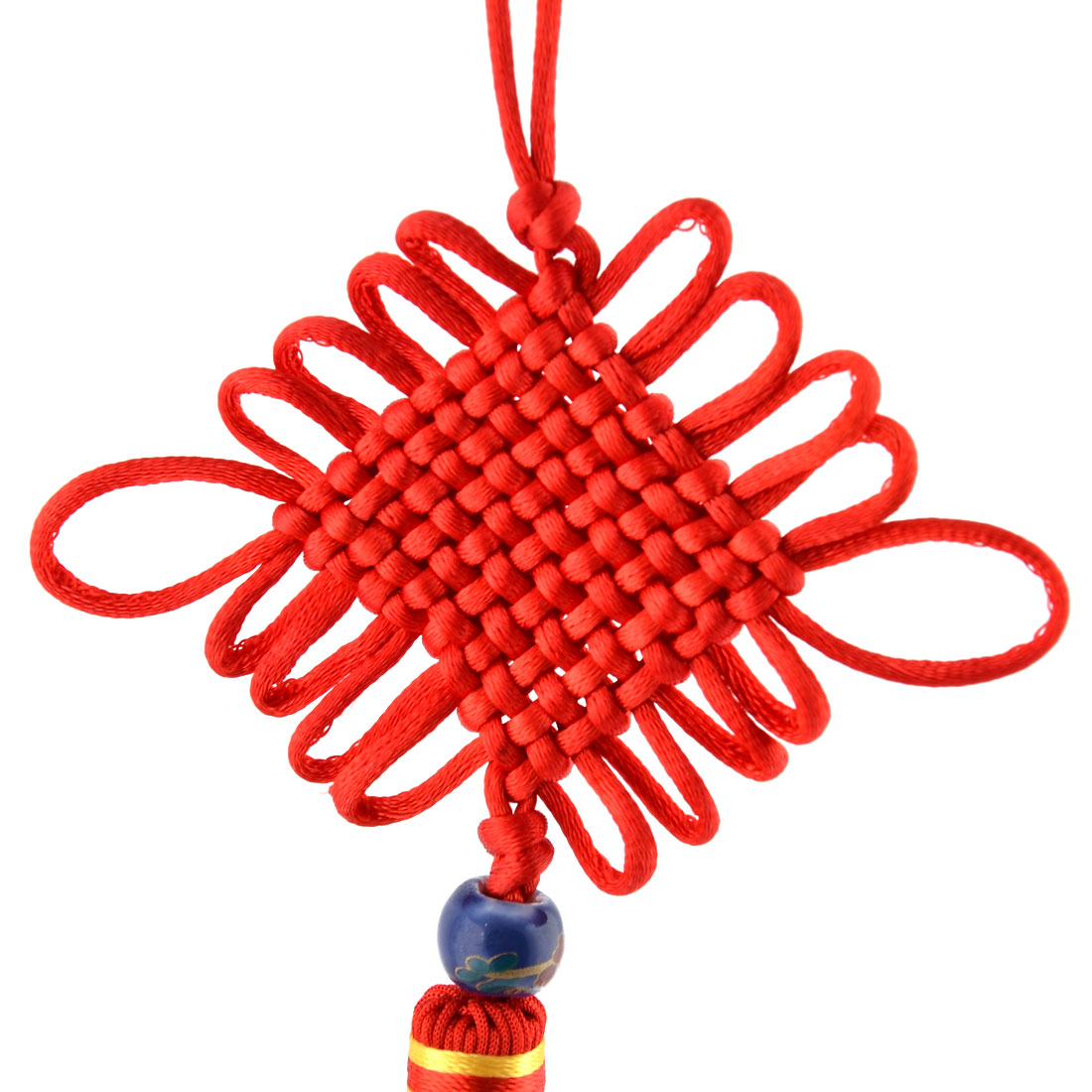 Home Vehicle Polyester Handmade Tassel Bead Ornament Crafting Chinese Knot Red - image 1 of 3