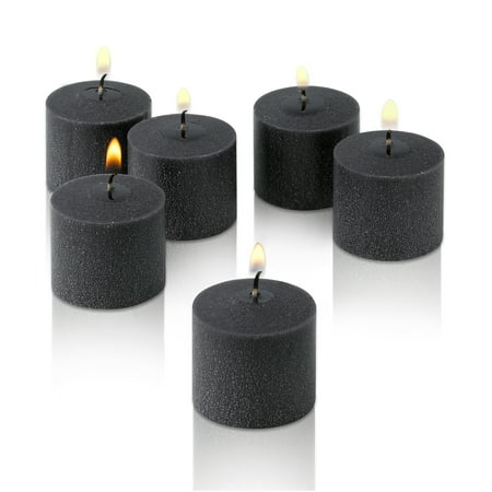 Black Unscented Votive Candles Set of 12 Burn 10 Hours (Unscented Palm Votives)