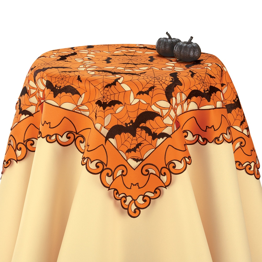 Embroidered Halloween Bats Table Linens, Square by Collections Etc