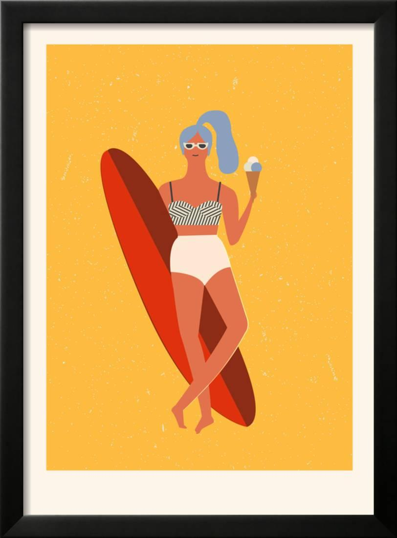 Retro Surfer Girl with Longboard Eating Ice Cream Framed Print Wall ...