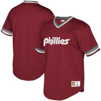 Philadelphia Phillies Mitchell & Ness Youth Cooperstown Collection Mesh Wordmark V-Neck Jersey - Burgundy