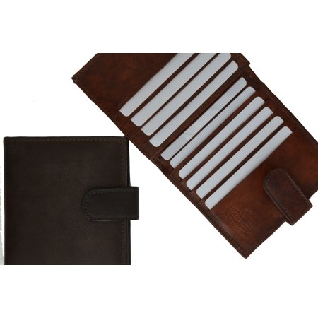 Mens Cowhide Leather Credit Card Holder Trifold Wallet with Snap Enclosure  1512 CF (C) - Cowhide Leather Business Card File