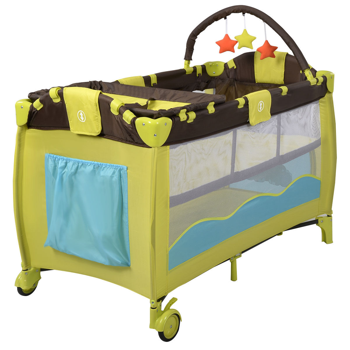 New Green Baby Crib Playpen Playard Pack Travel Infant Binet Bed Foldable Com