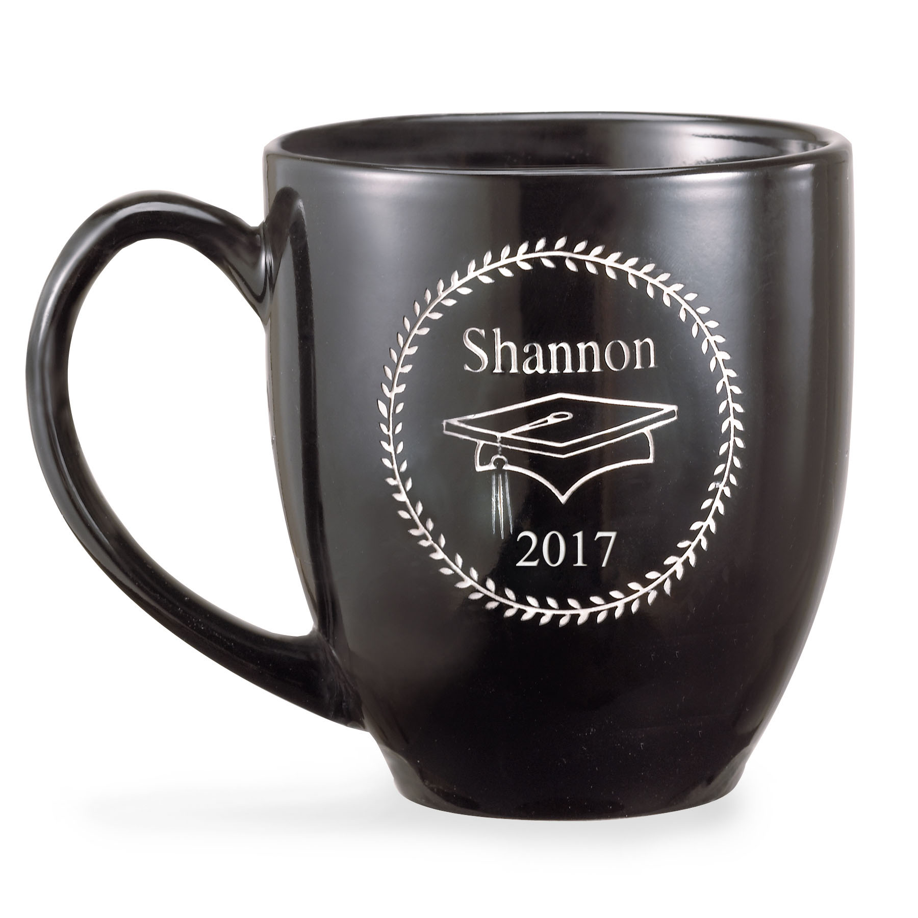 Personalized Black Graduation 15 oz Coffee Mug, Bistro Style