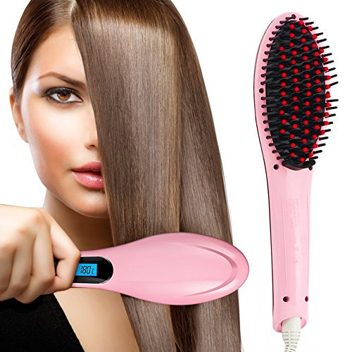 Oak Leaf Pro Detangling Hair Brush Electric Comb Hair Straightening Irons Straightener Pink