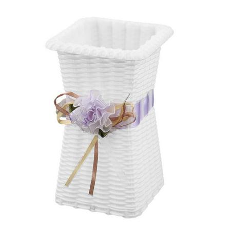 Home Plastic Handmade Artwork Artificial Plant Flower Vase Holder Light Purple - Plastic Flower Vases
