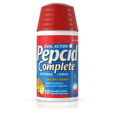 Pepcid Complete Dual Action Chewable Tablets, Tropical Fruit, 50 (Pepcid Complete Chewable)