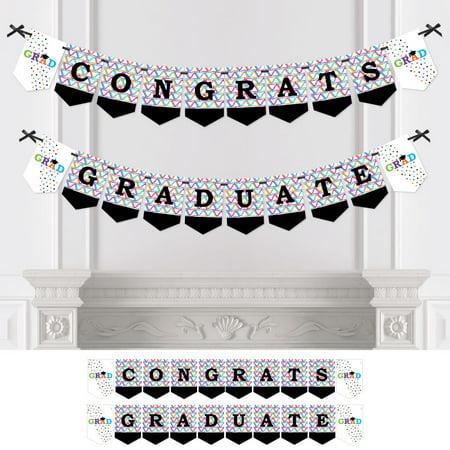 Hats Off Grad - Graduation Party Bunting Banner - Graduation Party Decorations - Congrats Graduate