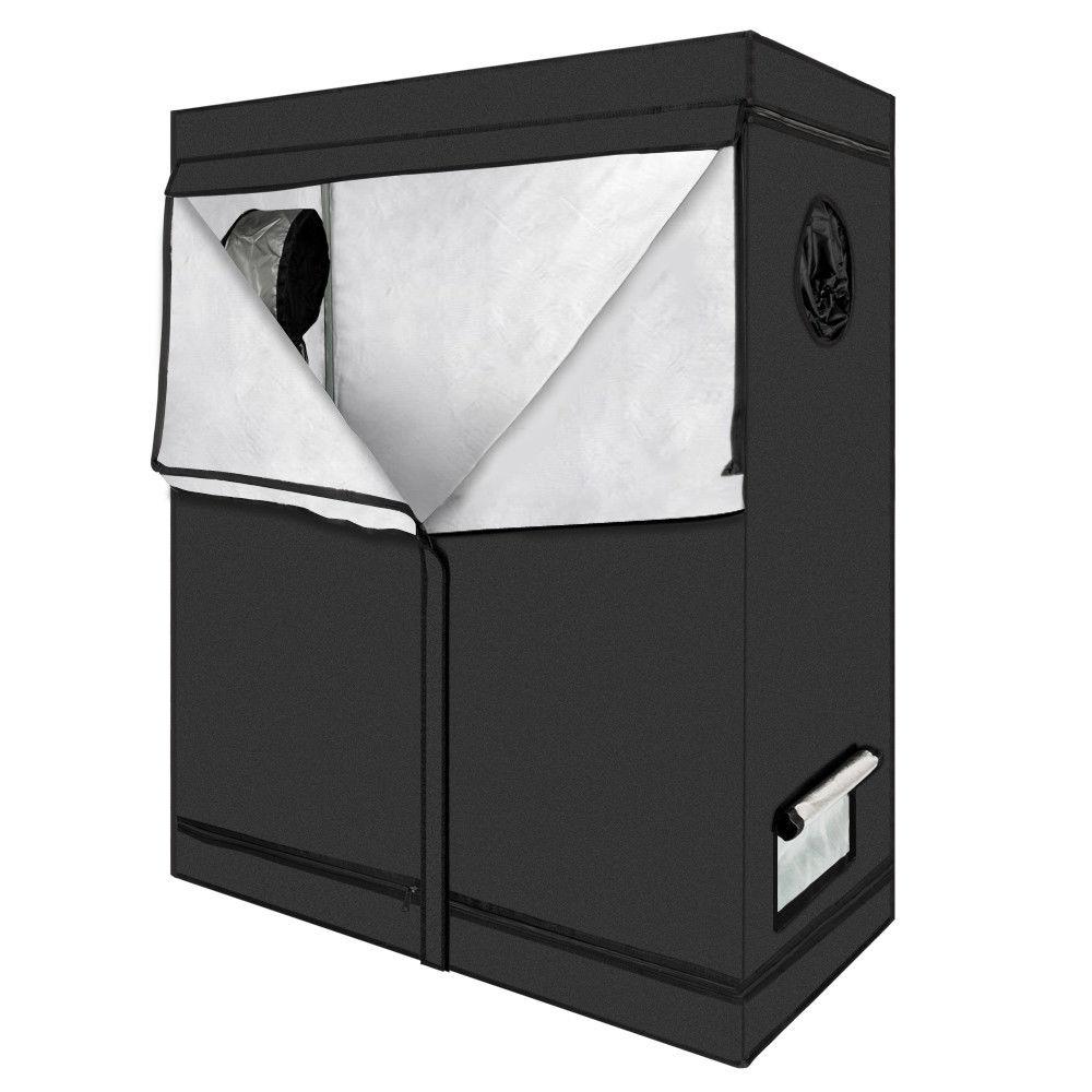 "GHP 49""x8""x6"" Black Mylar 600D Oxford Cloth Indoor Zippered Hydroponic Grow Tent"