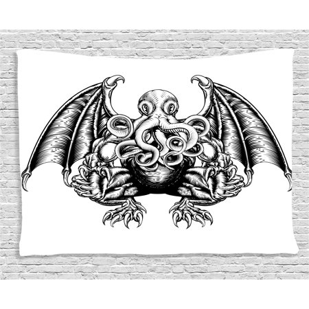 Kraken Decor Tapestry Cthulhu Monster Evil Fictional Cosmic Monster