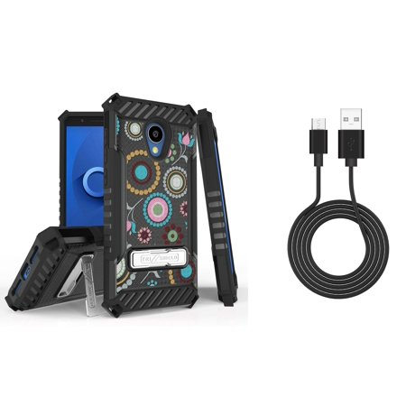 Bemz Accessory Bundle for Alcatel idealXTRA (AT&T) - Tri-Shield Military Grade Kickstand Case (Circle Collage) with Durable Micro USB Data Sync Cable (3 feet) and Atom Cloth