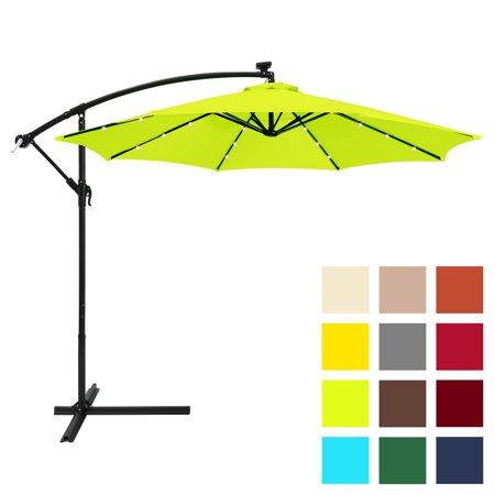 Best Choice Products 10ft Solar LED Offset Hanging Market Patio Umbrella w/ Easy Tilt Adjustment, Polyester Shade, 8 Ribs for Backyard, Poolside - Light Green