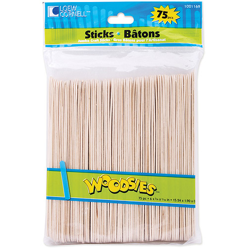 "Woodsies Jumbo Craft Sticks, 6"", 75-Pack"