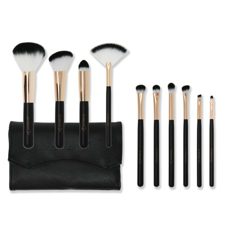 Makeup Brushes Set Black 10 pc Leather pouch [la beaute Soi] Professional Cruelty Free US