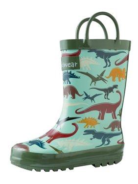 Oakiwear Kids Rain Boots For Boys Girls Toddlers Children Earthy Dinosaurs
