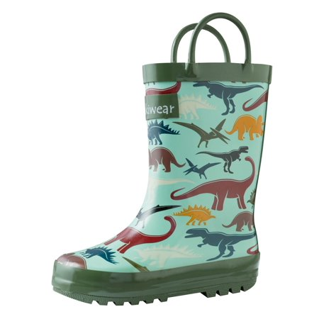 Oakiwear Kids Rain Boots For Boys Girls Toddlers Children Earthy Dinosaurs ()