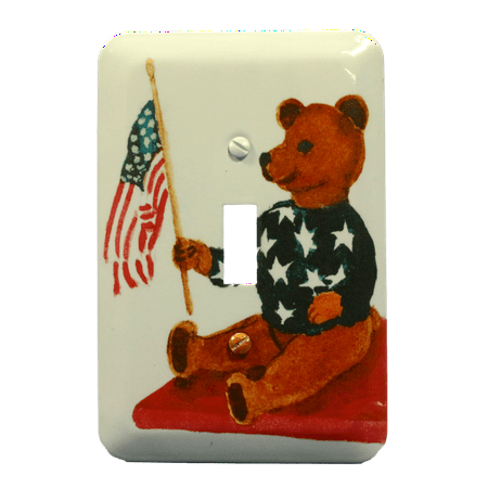 Patriotic Teddy Bear American Flag Wallplate Toggle Switch Metal Cover (Teddy Switchplate)