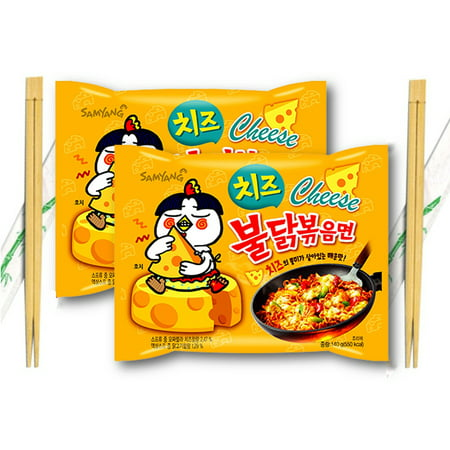 Samyang Buldak CHEESE Hot Chicken Flavor Ramen Stir-Fried with Wooden Chopsticks 4.94 Oz. (Pack of