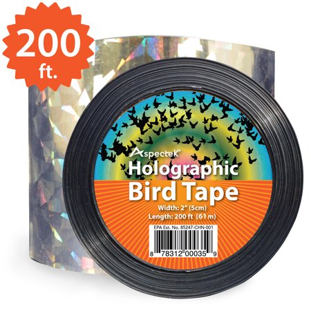 Aspectek Holographic Bird Scare Tape, Repellent Ribbon (200 Feet x 2 Inches)