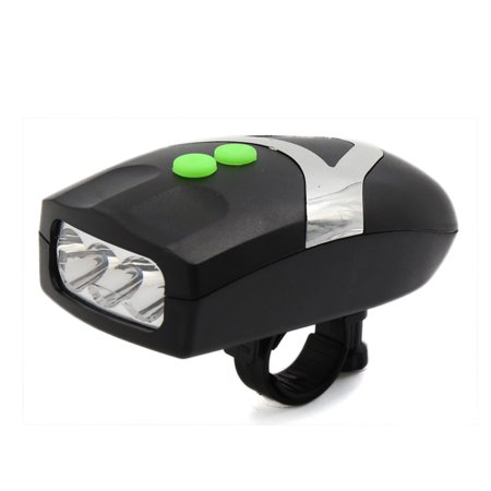 Bike Motorcycle 2 in 1 Alarm Cycling Horn Bell w 3 LED White Headlight Lamp Bulb