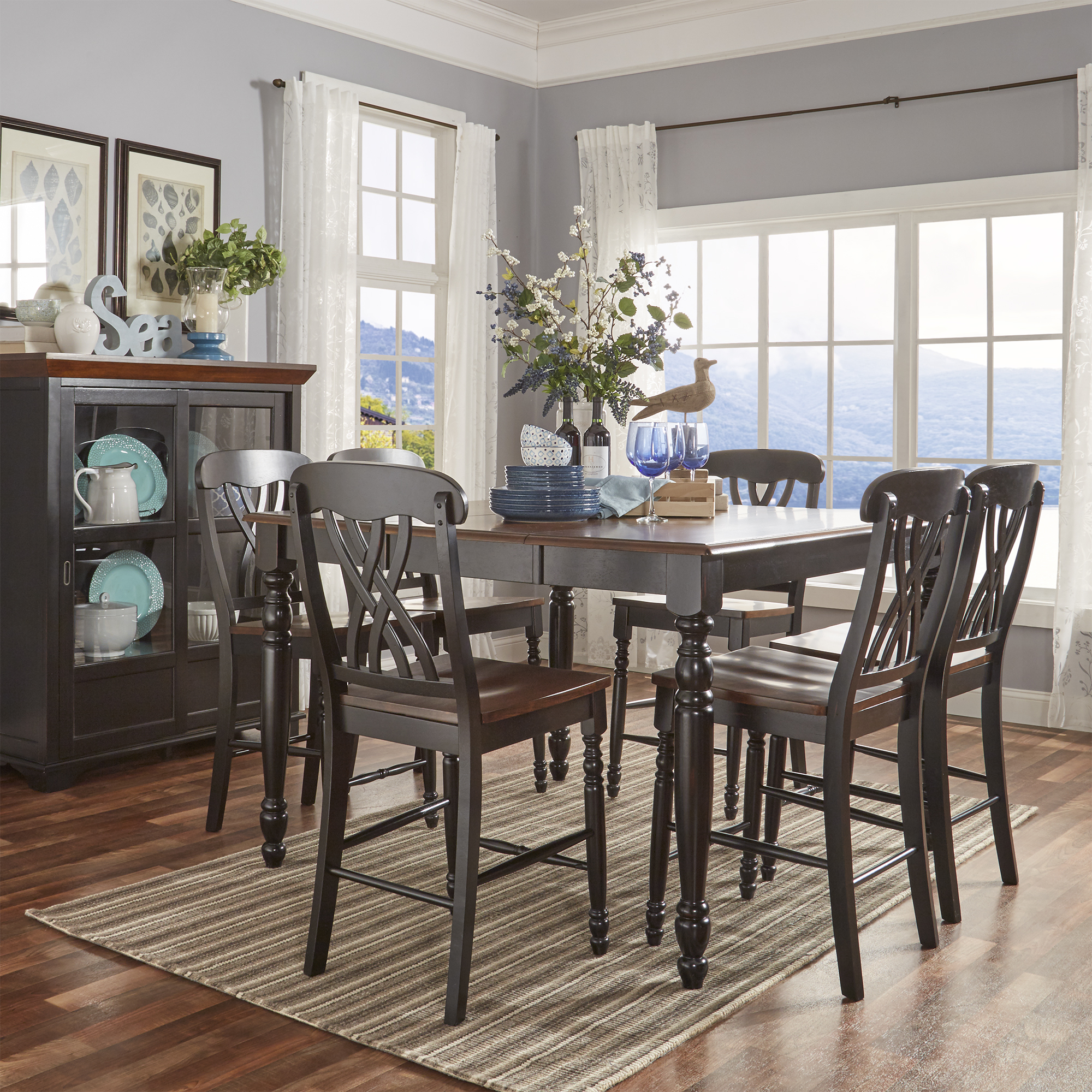 Weston Home Two Tone 7 Piece Counter Height Dining Set, Antique Black