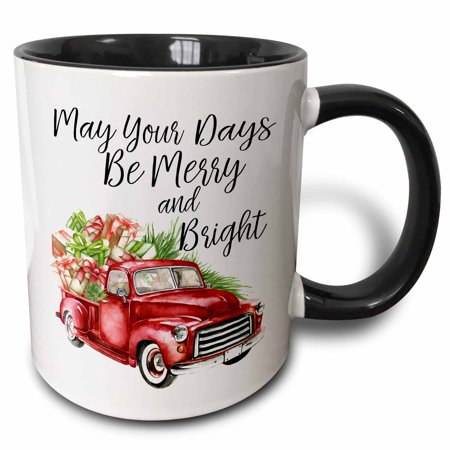 3dRose May Your Days Be Merry and Bright Watercolor Christmas Truck - Two Tone Black Mug,