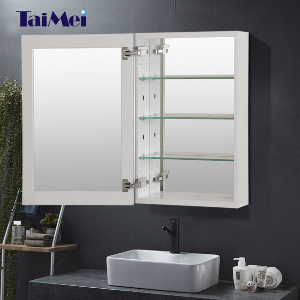 Taimei Diy Wall Frameless Mirror Medicine Cabinet 15 Wx36 Hx4 5 8 D With Beveled Edges Color Satin Bathroom Mirror Cabinet With 3 Adjustable Glass Shelves Storage Cabinet By Foca Us Walmart Com Walmart Com