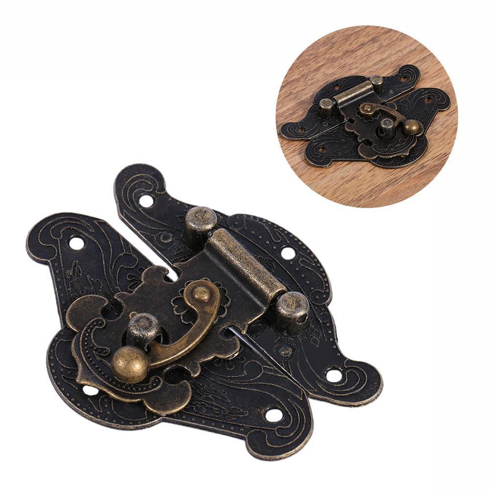 RETYLY Antique Retro Vintage Decorative Latch Wooden Jewelry Box Hasp Pad Chest Lock Size:Large