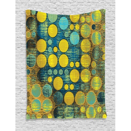 Polka Dots Home Decor Wall Hanging Tapestry, Polka Dots Pattern 60'S Style Vintage Groovy Decor Circles And Points Print, Bedroom Living Room Dorm Accessories, By Ambesonne (60's Decor)