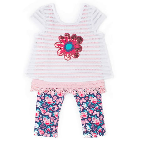 Baby Toddler Girl Short Sleeve Striped Lace Top, Cami & Capri Leggings, 3Pc Outfit Set