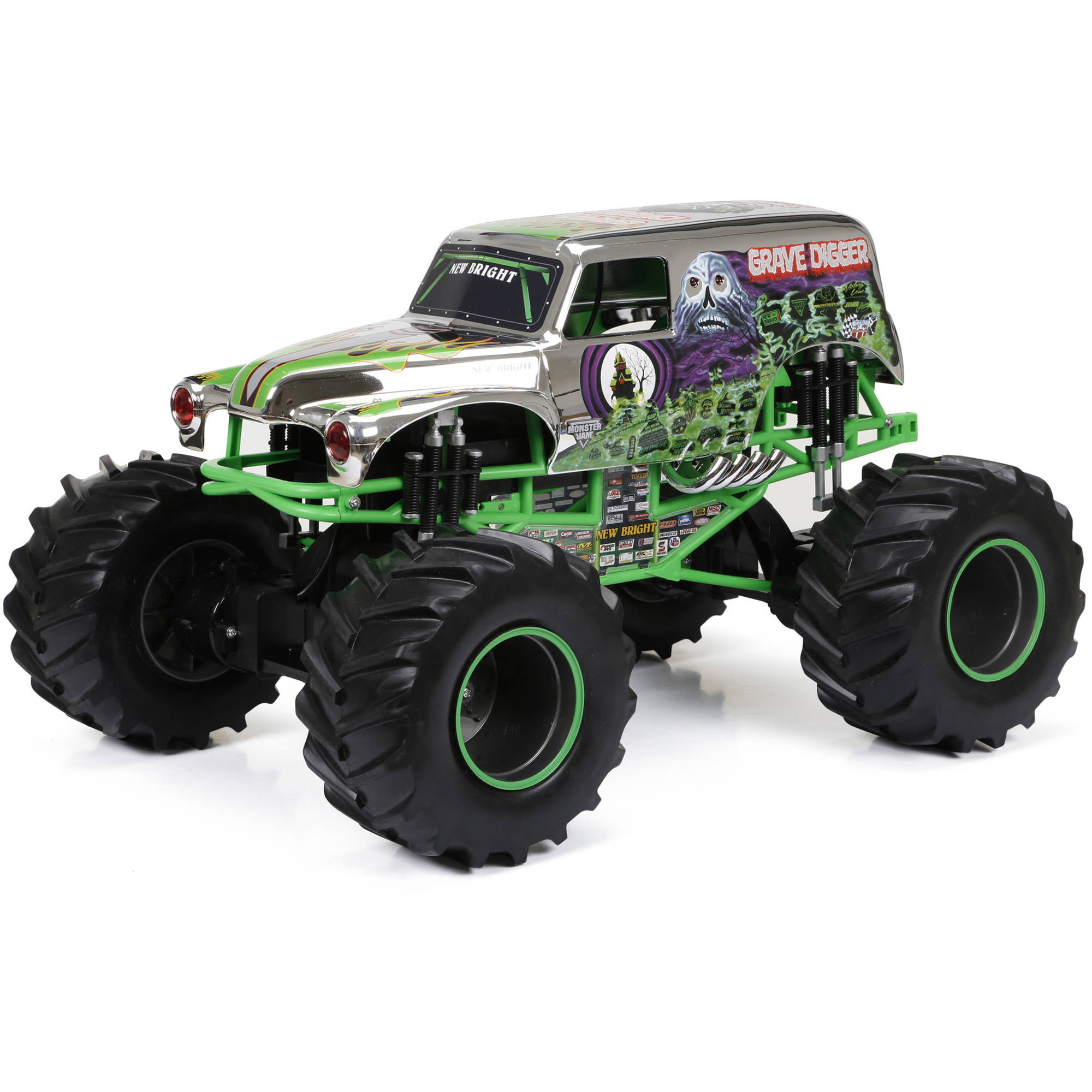 New Bright R/C F/F 12.8-Volt 1:8 Monster Jam Grave Digger, Chrome -  Walmart.com