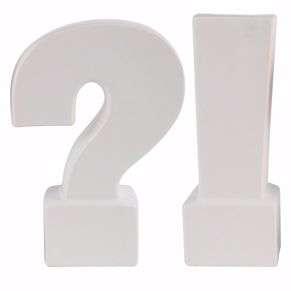Ceramic Question & Exclamation Mark Bookends, White, Set of 2 by Benzara